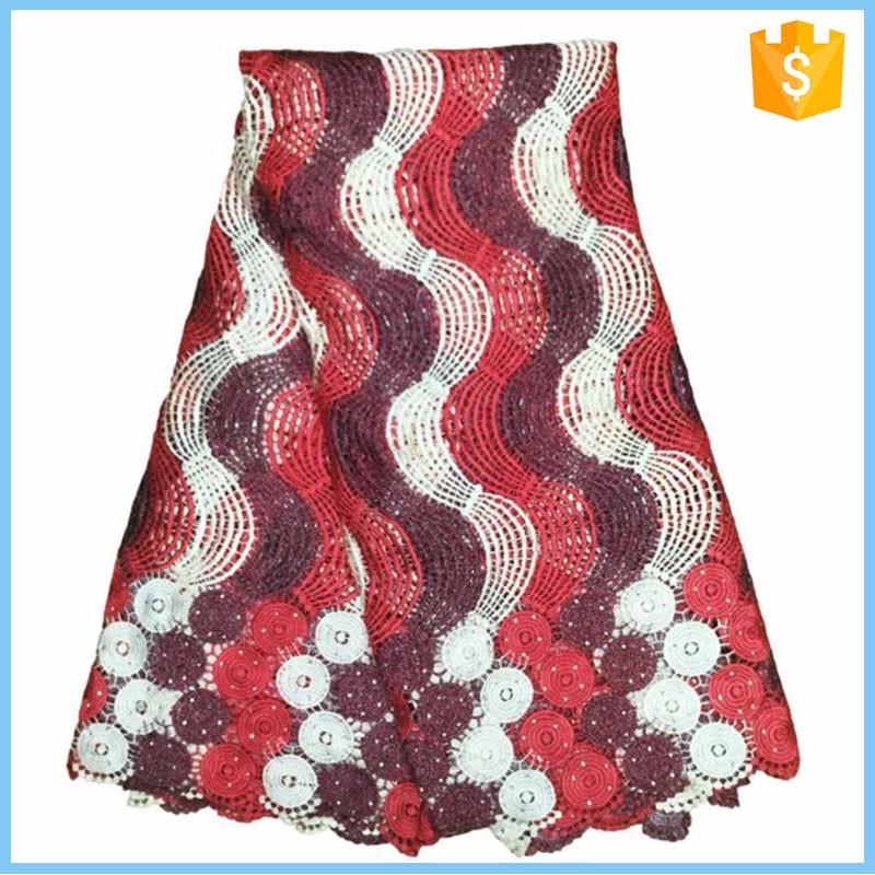 Cordon africain dentelle 2015 de haute qualité / dernière conception guipure française tissu en dentelle