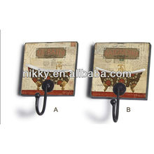Rural style iron decorative clothes rail, Durable removable hooks