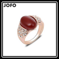 2015 Retro Vintage Rings Real 18K Gold Plated Red Ring for Women Austrian Crystal Fashion Exaggerated Anillos FGJ0128