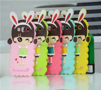 Light Silicone soft cover case for iphone 4/5/6 with cute rabbit