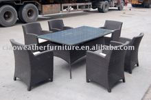 Hotsale outdoor garden PE rattan table set for 6 people