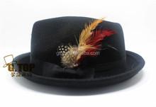 feather black wool felt fedora hats caps wh-796