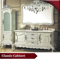 HS-G730 slim white mirrored antique style double sink bathroom vanity