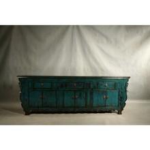 Chinese Antique Dark Blue Three Drawer Six door Cabinet Furniture