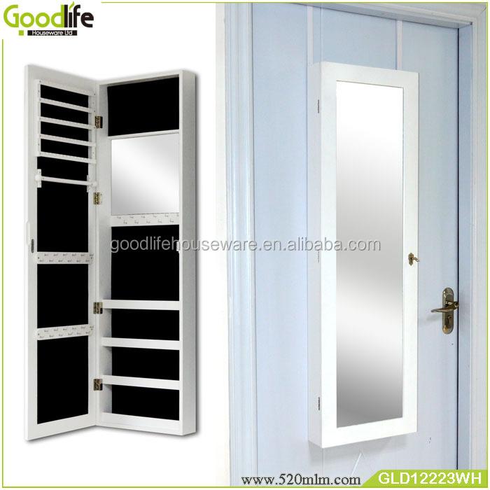 hot koop deur opknoping spiegel sieraden kast met haken gemaakt in guangdong houten kasten. Black Bedroom Furniture Sets. Home Design Ideas