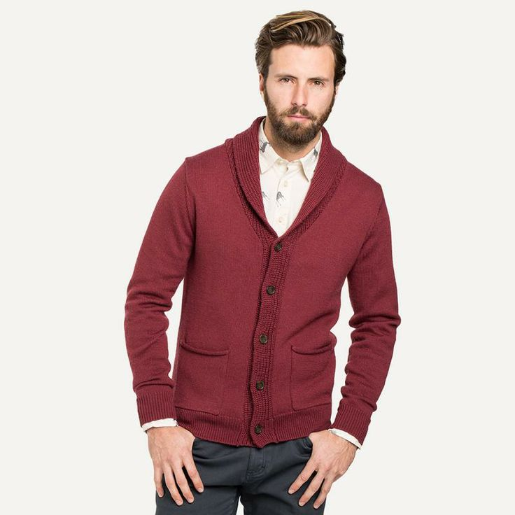 Button Up Burgundy Lapel Thick Men Cashmere Cardigan Sweater In ...