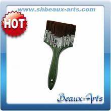 Synthetic brown hair flat brushes set artist paint brush with green wooden handle