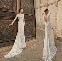 2015 Elegant V-neckline Long Sleeve Backless Lace Trumpet Bridal gown wedding dresses FB01