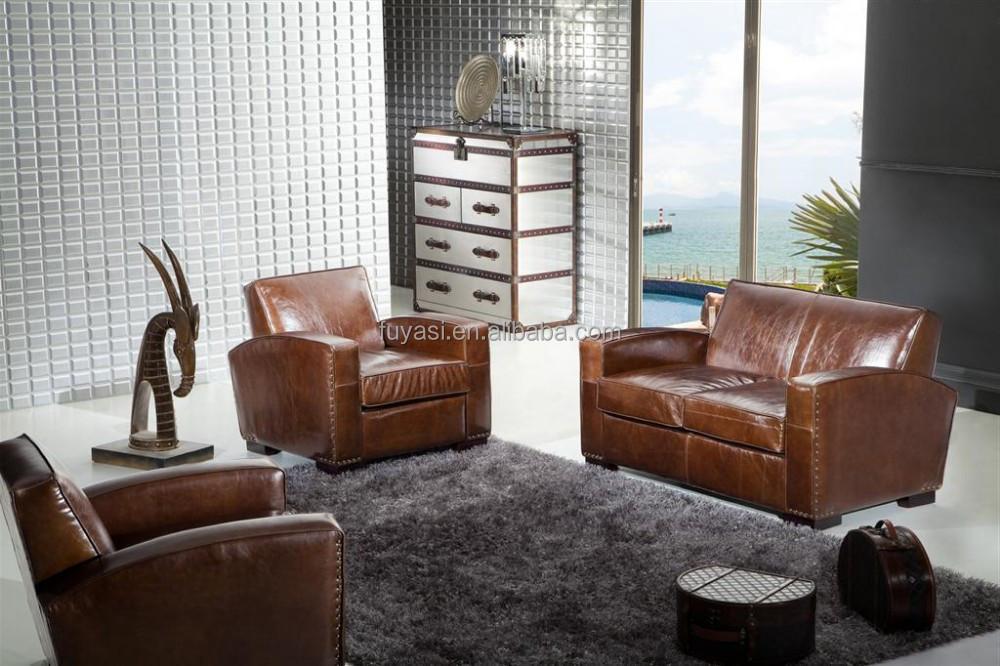 Living Room Sofa Set Genuine Leather Antique Style Sleep