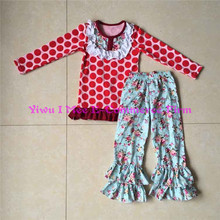 Pretty Little Girls Fall Boutique Outfits Wholesale Kids Thanksgiving Giggle Moon Remakes Clothing Sets with Ruffles IM-CSL161