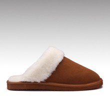 2015 better quality comfortable cow suede upper sheepskin lining boy winter EVA leather slipper