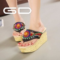 new types beading styles women summer platform slippers shoes