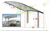5.5m*6m polycarbonate roof aluminum car shed
