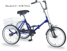 "GW7016 20"" adult folding bike tricycle/street city tricycle/bicycle with three wheels"