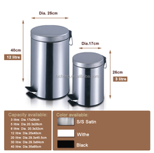 anti-skid base big pedal stainless steel satin dustbin for industrial