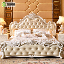 Luxury White French Baroque Barocco Style Hand Carved Wood Leather Adujstable Queen Double Hydraulic Gas Lift up Storage Box Bed