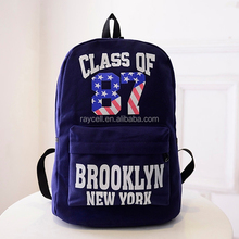 2015 children school canvas backpack bag China factory wholesale