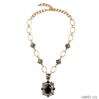 Fashion trend intimate jewelry with black beads pendant necklace