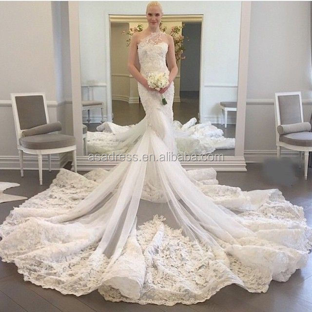 2015 Lace Applique Tulle Sheath Wedding Gown One Shoulder With Long Train Alibaba Wedding Dress