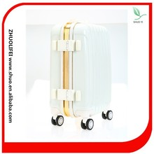eminent verage white color aluminum frame travel style abs suitcase
