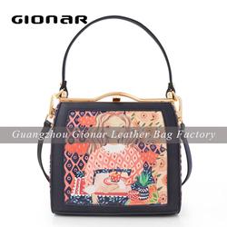 High Quality PU Leather Bag Silk Print Women Satchel Bag