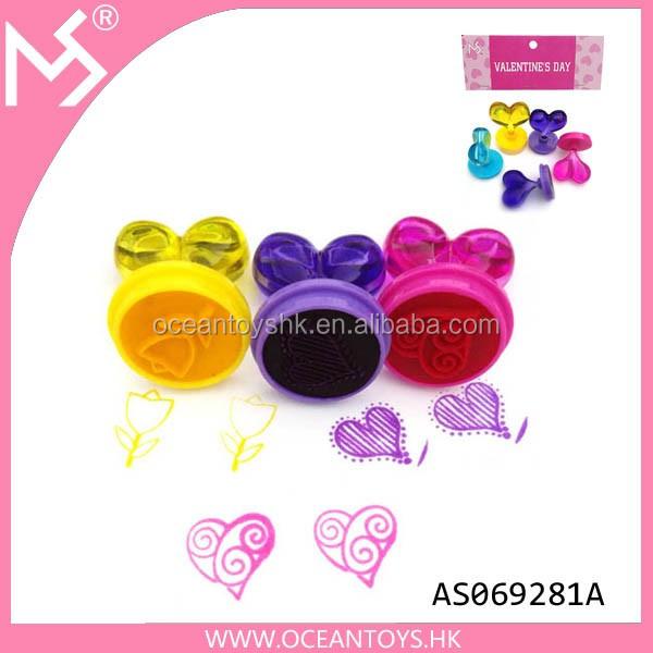 Heart-shaped de cristal dia dos namorados presentes kid brinquedos de plástico soap stamper signet