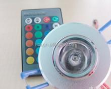 1*3W RGB led ceiling light,AC90-260V input,with 24key IR remote
