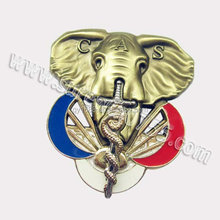 3D metal Art elephant badge / gold platingHong elephant badge pin with best wholesale price