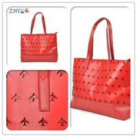 High quality BSCI airplane pattern hollow korea fashion ladies pu handbag factories in china