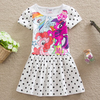 H4923 European and American children dress my little pony short dot girl dress