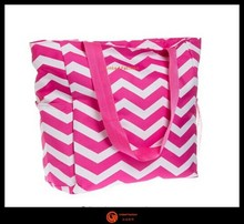 "Fashion Tote Bag, 17"", Quatrefoil/Chevron/Damask/Peace Prints bolsa de galon saco"
