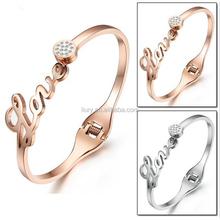 women rose gold 316L stainless steel love bracelets zircon