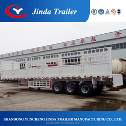 Jinda standard series in fence semi truck trailer 3 axles store house bar semi trailer with flat bottom and double barrier