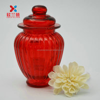 airtight cylinder red glass canister candle jar with lid
