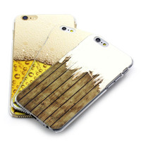 Hot new products for 2015 for apple iPhone 5s 6s plus mobile phone case with beer and wood design