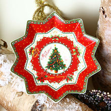 9 Inches Star Shaped Christmas Plate Decoration