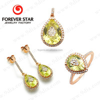 2015 wholesale alibaba Hot Sale Natural Gemstone 14 K Gold Jewelry Set