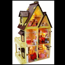 3D miniature furniture doll house assembling handmade building plastic house toy for kids,custom assembling toy for kids maker