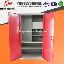 customized KD steel wardrobe with double mirror doors