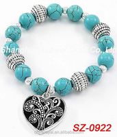 SZ-0922 Turquoise Bracelet With Heart Charm