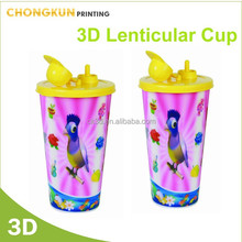 600ml(21OZ) 3D Lenticular Cartoon Drinking Plastic Promotional Cheap Straw Cup