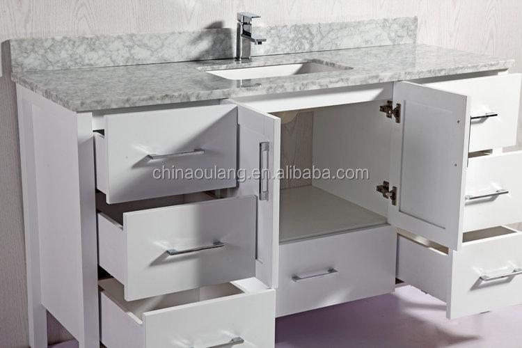 단단한 나무 욕실 가구 단위 고급 욕실 세면대 대리석 카운터 위 ...