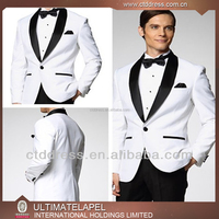 2016 New Style white with black shawl lapel custom tailor made indian wedding suits for men