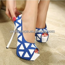 2014 Summer Latest Design Open-toe Plaid High heel Shoes for Sexy Girls and Party