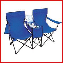 Custom logo double seat folding beach chair with umbrella