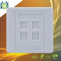 4 port 86*86mm Flat Shuttered network face plate RJ45 wall outlet