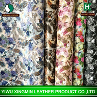 Peacock print synthetic PVC leather for girls luggage girls bag shoes