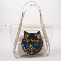 Clear PVC Beach Bag Handbag Clear Plastic Tote Bag with Inner Bag