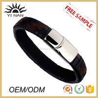 Wholesale Stainless Steel Clasp Genuine Leather Cuff Bracelets Manufacturer