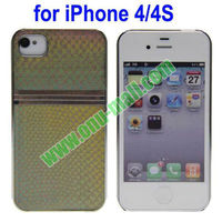 Unique Design Silver Plating Sides Snakeskin Pattern Hard Case Cover for iPhone 4/4S(Yellow)